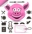 Pink Pig Head - Chef and Restaurant Menu Icons Set vector image
