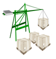 A Shipping Box Being Hoisted By A Crane vector image vector image