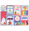 bashower animal cards cute greetings kids vector image vector image