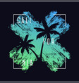 california t-shirt typography with palm trees vector image vector image