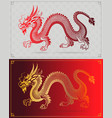 chinese traditional dragon on red background vector image