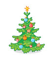 christmas tree decorated with toys standing on a vector image