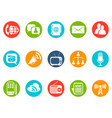 communication round button icons set vector image