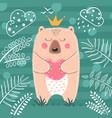 cute princess bear - cartoon vector image vector image