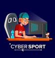 cyber sport player sitting at the table vector image vector image