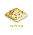 family playing isometric concept vector image