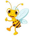 funny bee cartoon thumb up vector image vector image