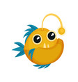 funny yellow piranha with blue fins big teeth and vector image