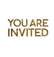Golden glitter isolated standard serif font word vector image