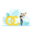 groom holding bride on his hands tiny couple vector image vector image