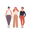 group cute young women dressed in stylish vector image vector image
