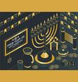 hanukkah isometric template with torah menorah vector image vector image