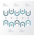 hardware outline icons set collection of cpu vector image vector image