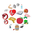 healthy lifestyle cartoon icons vector image vector image