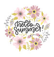 hello summer card design pastel round shape of vector image vector image
