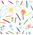 kids art background crayon drawing seamless vector image