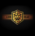 lion head shield logo vector image
