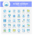 network technology icons vector image vector image