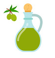 olive oil in jug with olives branch flat isolated vector image