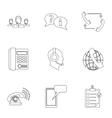 Online support icons set outline style vector image vector image