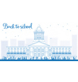 Outline Landscape with school bus school building vector image vector image