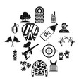 paintball icons set simple style vector image vector image