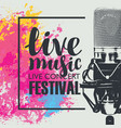 poster for a live music festival with a microphone vector image