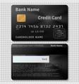 realistic black bank plastic credit card with chip vector image vector image