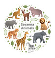 savanna animals set vector image vector image