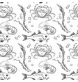 seamless pattern of outline fish crab and vector image vector image