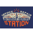 Service station vintage sign board vector image vector image
