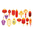 set isolated chineseasian lanterns for holiday vector image