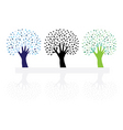 set of abstract hand trees vector image vector image