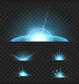 set of glowing light effect isolated on black vector image vector image