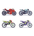 set sports motorcycles racing motorcycle vector image vector image