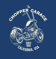 t-shirt design chopper motorcycle garage vector image vector image