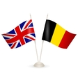 Table stand with flags of England and Belgium vector image vector image
