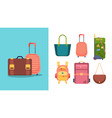 travel bags stylish cases and women handbags from vector image vector image