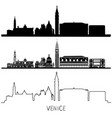 venice silhouette skyline set black and white vector image