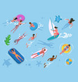 water activity people swimming or diving vector image vector image