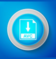 white avc file document icon download avc button vector image vector image