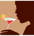 woman with cocktail vector image vector image