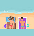 young couple on a sand beach sunbathing relaxing vector image vector image