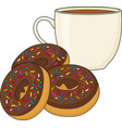 a chocolate frosted donut or doughnut and a hot vector image