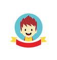 adorable boy cartoon character label vector image vector image