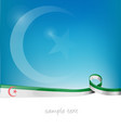 algeria ribbon flag on blue sky background vector image