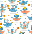 Animal Yoga seamless pattern Monkey yoga Animals vector image