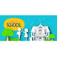 back to school papercut kid friends and landscape vector image vector image