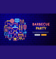 barbecue party neon banner design vector image vector image