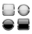 black and white buttons with chrome frame round vector image vector image